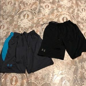 2 Pair Lot Of Under Armour Basketball Shorts Med.
